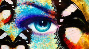 Women eye,and butterfly, color rust effect, painting collage, violet makeup. Royalty Free Stock Photography