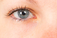 Women eye, close-up, blue, tear Royalty Free Stock Photo