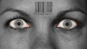 Women eye, close-up. Minimum make-up, barcode Stock Photo