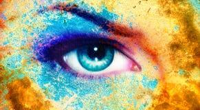 Women eye, color rust effect Stock Image