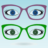 Women eye glasses. Green and blue eyes royalty free illustration