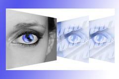 Women eye on new technologies royalty free stock photography