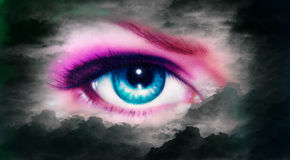 Women eye painting in cloud sky effect black and white retro sty Royalty Free Stock Images