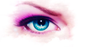 Women eye painting, make up in mist effect Royalty Free Stock Photos