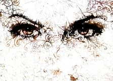 Women eyes and  crackle effect and ornaments on white background. Royalty Free Stock Photography