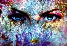 Women eyes and  crackle effect and white  ornaments Royalty Free Stock Images