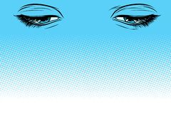 Women eyes look down Vector Illustration