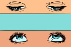 Women eyes look up and down. Pop art retro vector illustration vintage kitsch stock illustration
