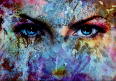 Women eyes and painting color effect, make up and eye contact Royalty Free Stock Images