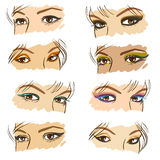 Women eyes set, vector. Illustration with different make-up tips Royalty Free Stock Images