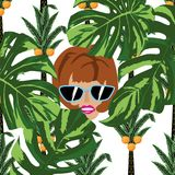 Women face in the jungle white background Stock Photography