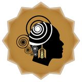 Women face profile silhouette with art deco golden earring on background in star shape. Promotional emblem for goldsmith and jewel Royalty Free Stock Photo