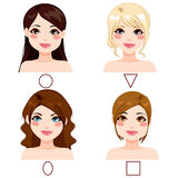 Women Face Shape Types Stock Images