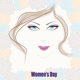 The women face to celebrate the international women's day. On flowers background Stock Photography