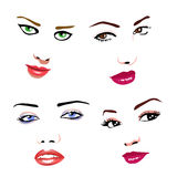 Women faces. Illustration of women faces, with beautiful make-up Stock Photos