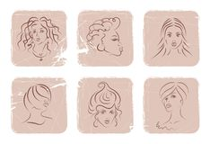 Women faces. Six powder-shaped squares with different women faces. beauty conception. vector illustration. easy to change colors Royalty Free Stock Photography