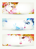 Women faces. Beautiful abstract women faces on three headers Stock Photos
