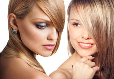 Women faces with perfect skin and make up Stock Photos