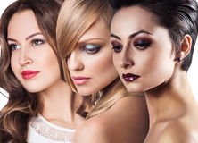 Women faces with perfect skin and make up Royalty Free Stock Photo