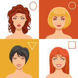 Women Faces Set. With oval round triangle and square shapes flat isolated vector illustration Stock Photos
