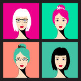 Women faces - vector Illustration Stock Photography
