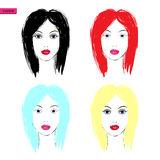 Women faces - vector Illustration Royalty Free Stock Photography