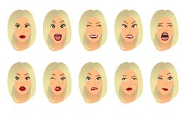 Women facial expressions, gestures, emotions happiness surprise disgust sadness rapture disappointment fear surprise joy. Smile cry despondency. Vector stock illustration