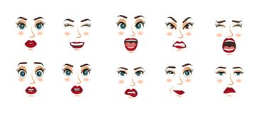 Women facial expressions, gestures, emotions happiness surprise disgust sadness rapture disappointment fear surprise joy Stock Images