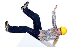 Women falling backwards Royalty Free Stock Photo
