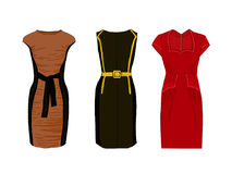 Women fancy dress on the figure. Stylish dress close fitting style. Vector Royalty Free Stock Images