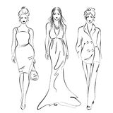 Women fashion. Hand-drawn women in fashion dresses,  illustration Stock Photography