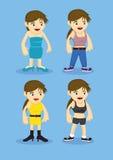 Women Fashion Cartoon Characters Stock Photo