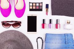Flat lay fashion collage background Stock Images