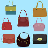 Women fashion collection of bags. Vector illustration Royalty Free Stock Image