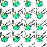 Women fashion green bag and text seamless pattern vector background Stock Photography