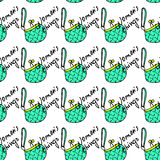 Women fashion green bag and text seamless pattern vector background Stock Images