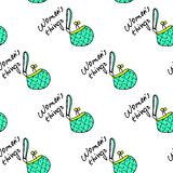 Women fashion green bag and text seamless pattern vector background Royalty Free Stock Photos