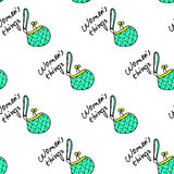 Women fashion green bag and text seamless pattern vector background Royalty Free Stock Photo