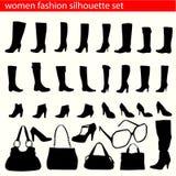 Women fashion silhouette set. Set of women fashion  silhouette vector Royalty Free Stock Photo