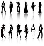 Women fashion silhouettes vector Stock Images