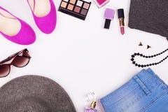Flat lay fashion collage Stock Photos