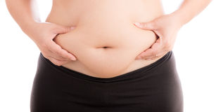 Women with fat belly on white background. Cellulite fat at belly on white background Stock Image