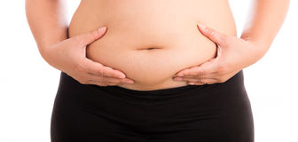 Women with fat belly on white background. Cellulite fat at belly on white background Royalty Free Stock Image
