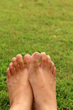 Women feet in the grass Stock Images