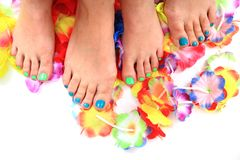 Women feet (pedicure)  with flowers Royalty Free Stock Photo