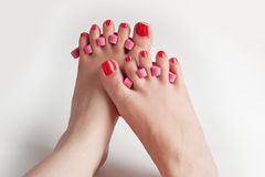 Women feet after pedicure Stock Image