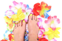 Women feets and flowers (pedicure tbackground) Stock Photos