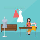 Women female sewing machine dress tailor clothes material fabric fashion dressmaker. Vector Royalty Free Stock Image