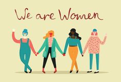 We are women, vector background. We are women. Feminine concept and woman empowerment design for banners vector illustration