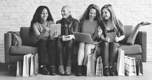 Women Femininity Shopping Online Happiness Concept stock image